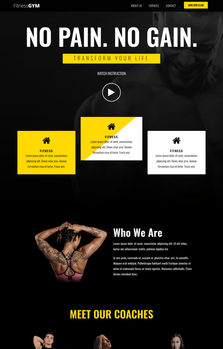 Gym Elementor Template