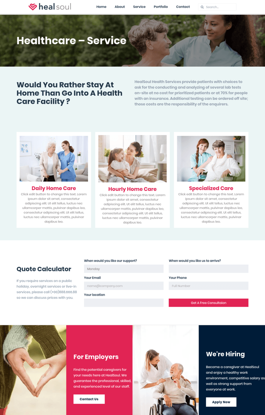 Healthcare Service Page Template