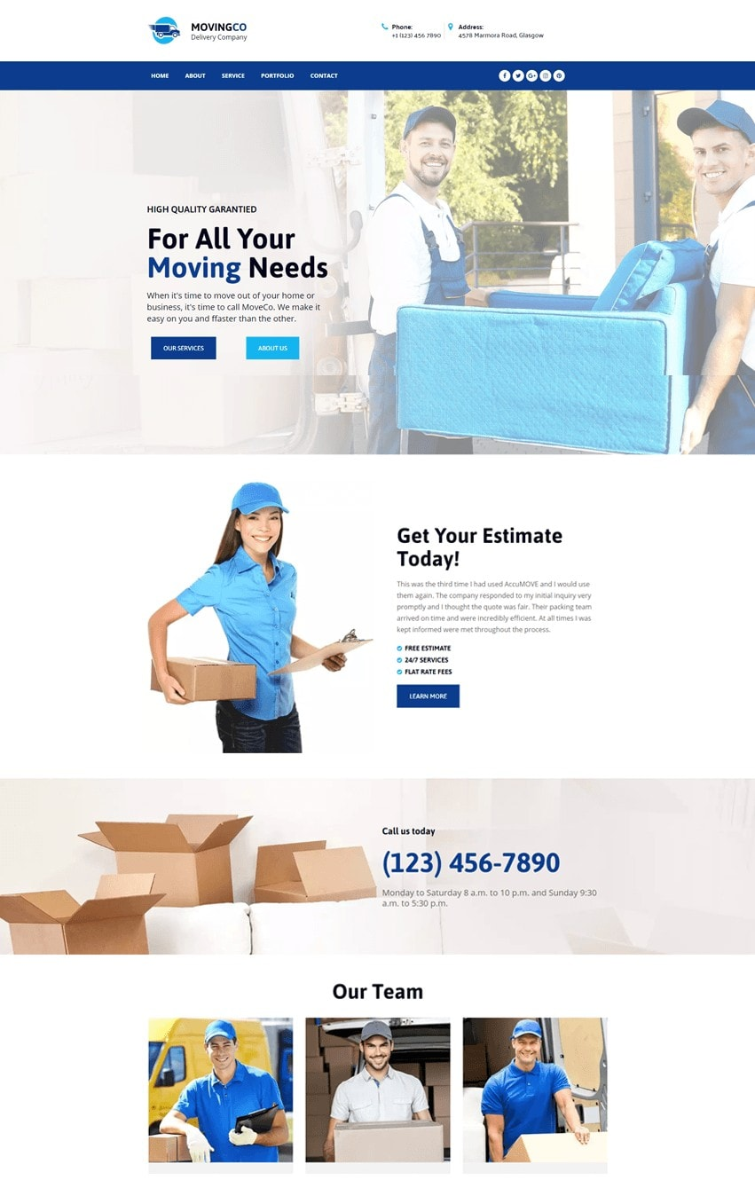 Moving Company Elementor Template