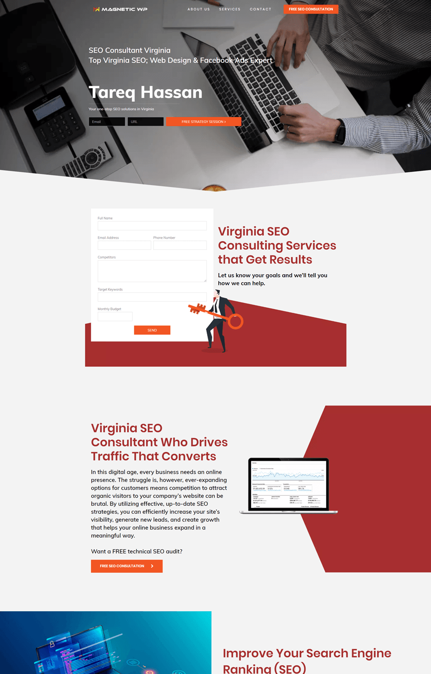 SEO Consultant Landing Page Template