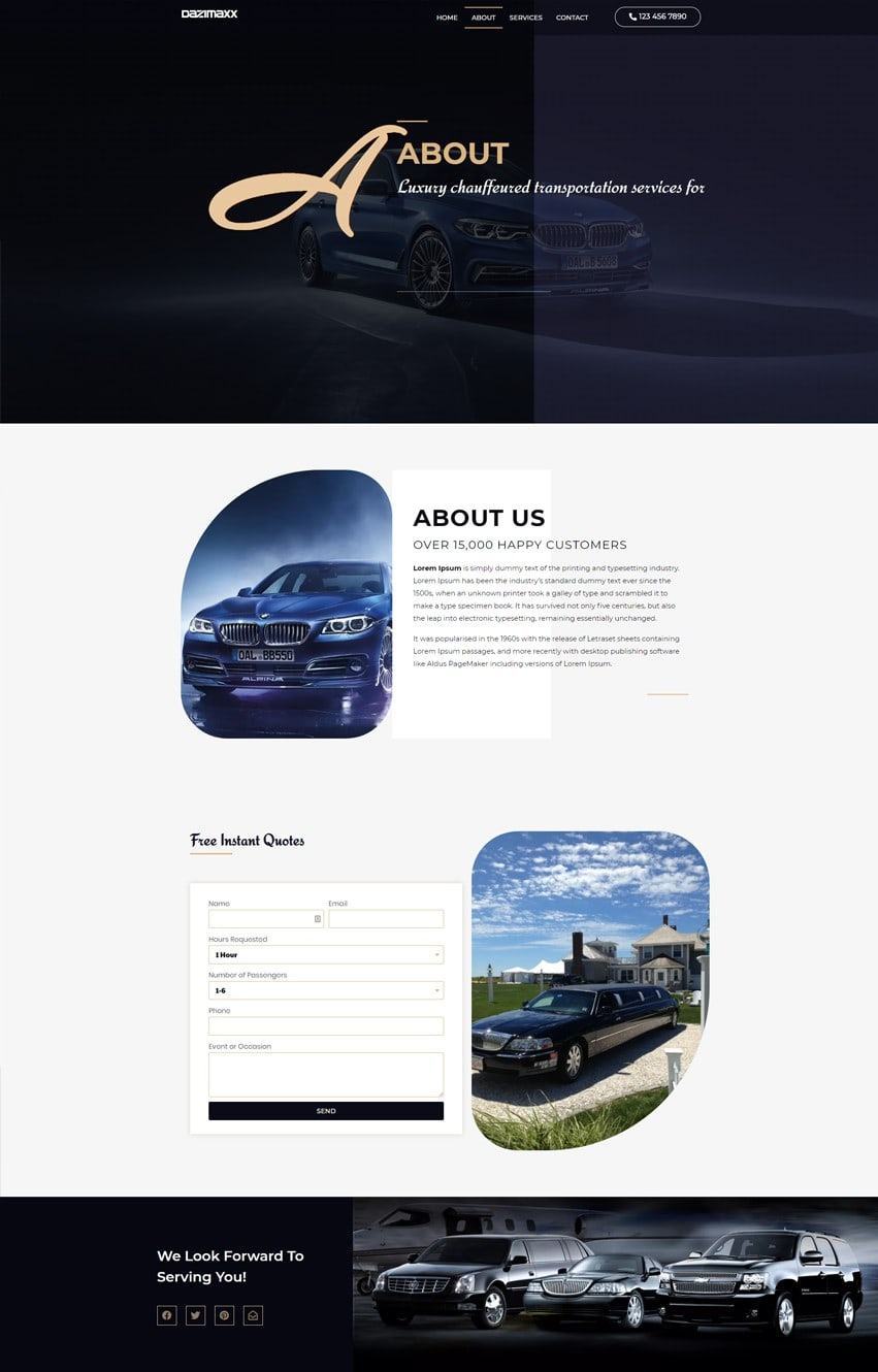 Limousine Services About Page Elementor Template