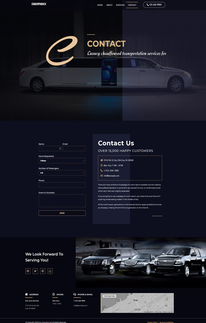 Limousine Contact Page Elementor Template