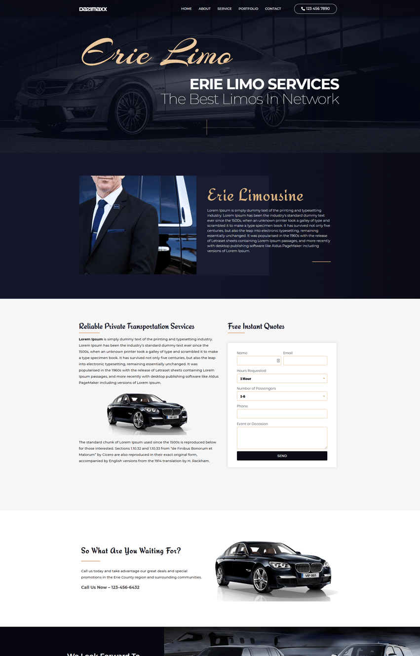Limousine Homepage Elementor Template