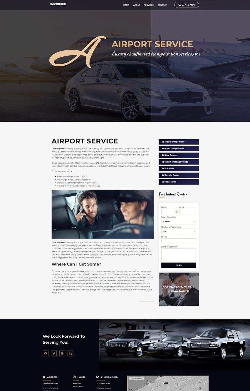 Limousine Single Service Page Elementor Template