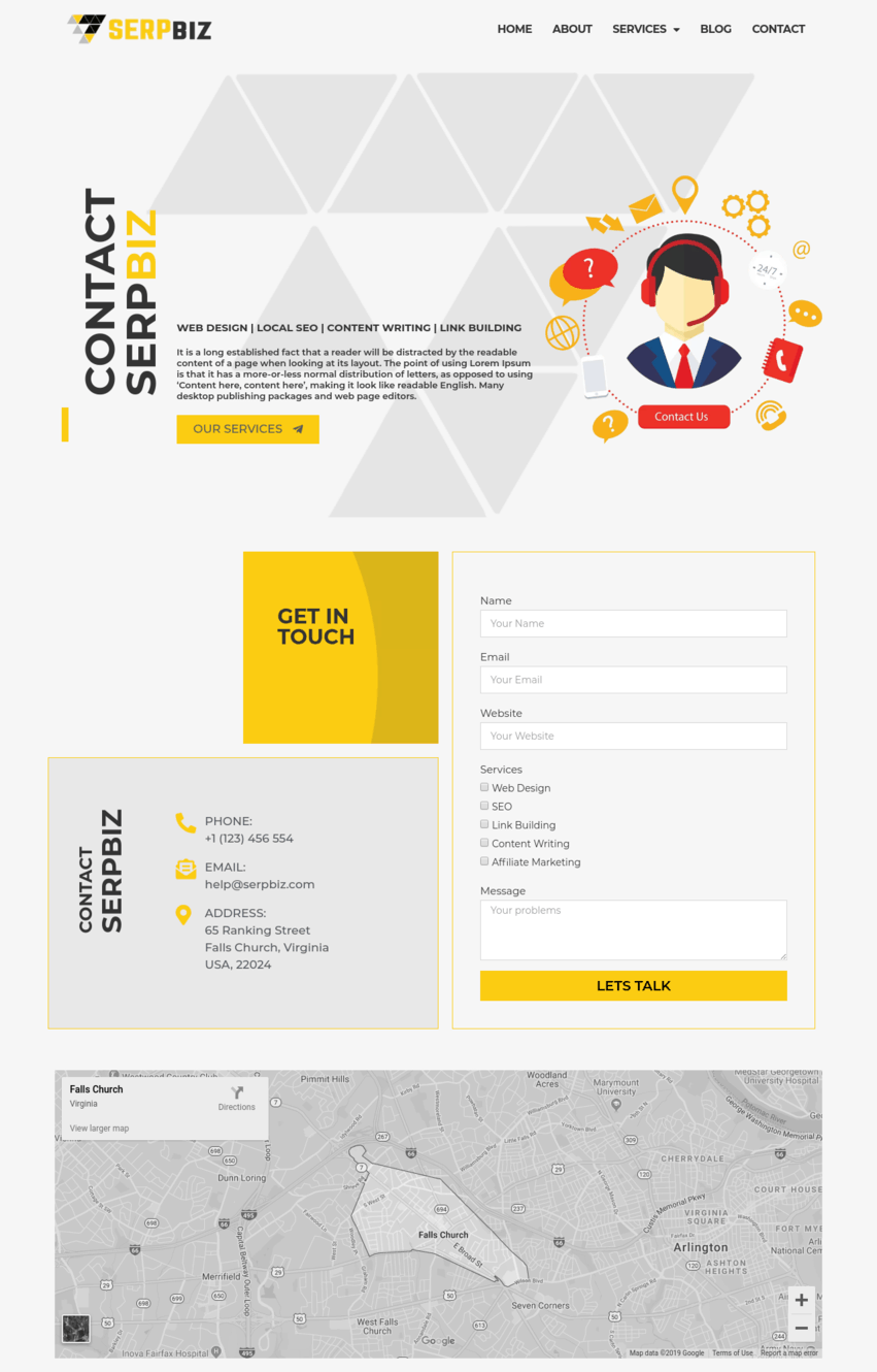 Digital Marketing & SEO Contact Page Elementor Template